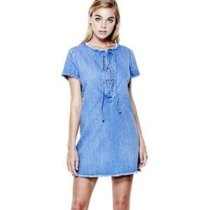 Guess Shalay Denim Lace Up Mini Dress